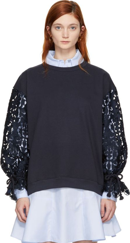 See By Chloé Navy Broderie Anglaise Sweatshirt