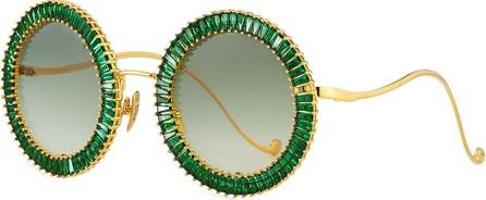 Anna Karin Karlsson Magic You Round Sunglasses w/ Crystal Trim