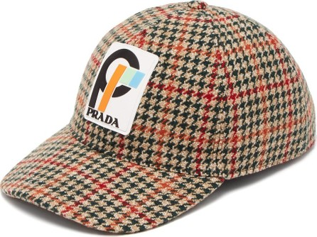Prada Houndstooth wool-tweed cap