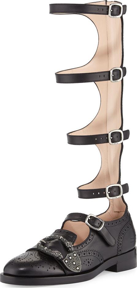 Gucci Leather Brogue Gladiator Boot, Black