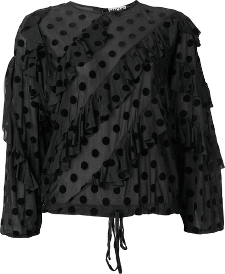 Hache Ruffled polka dot blouse