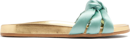 Charlotte Olympia Dylan knot-detail satin slides