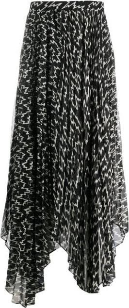 Isabel Marant Silk lightning-print skirt