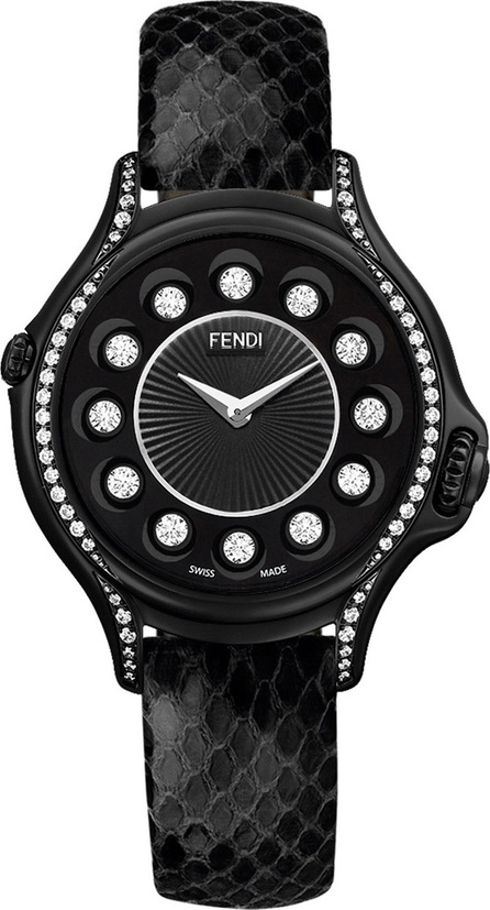 Fendi Crazy Carats Python Strap Watch with Diamond Bezel