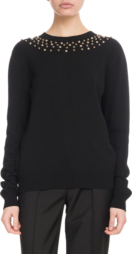 Givenchy Long-Sleeve Studded-Neck Fitted Wool-Cashmere Sweater