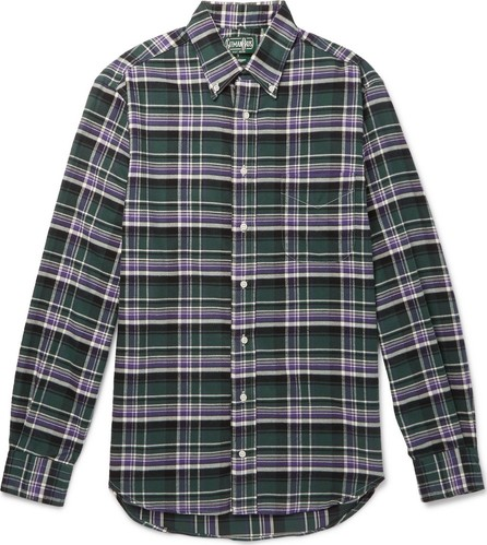 Gitman Vintage Slim-Fit Button-Down Collar Checked Brushed Cotton-Flannel Shirt