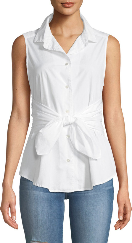 FRAME DENIM Sleeveless Button-Front Belted Poplin Top