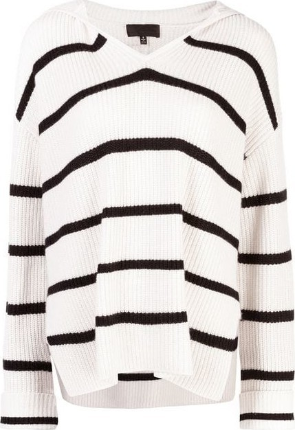 Nili Lotan Josie Striped Hood Sweater