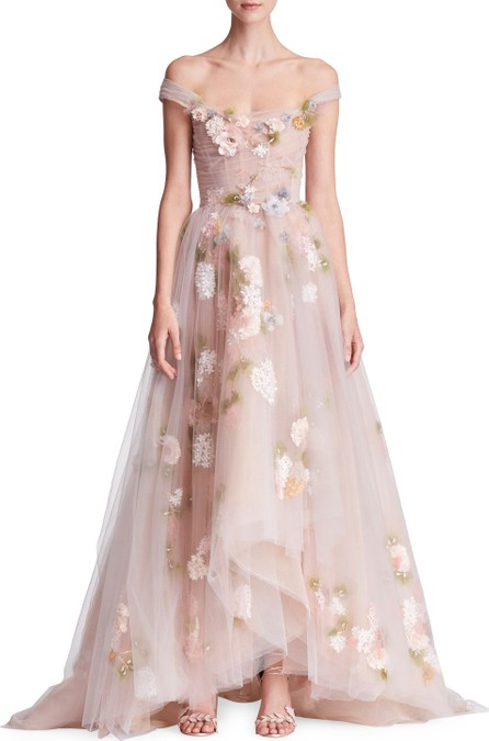 Marchesa Off-the-Shoulder Corset-Bodice 3-D Organza Evening Gown with Paillette Flowers