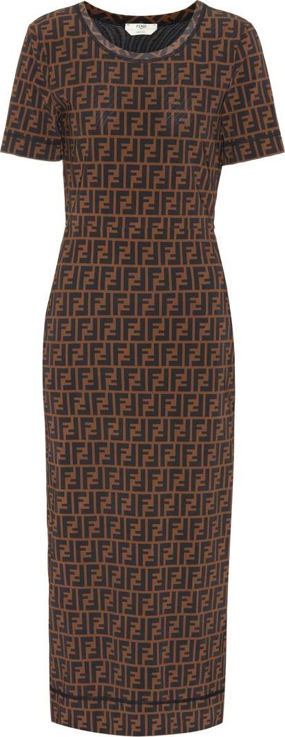 Fendi Logo printed midi dress