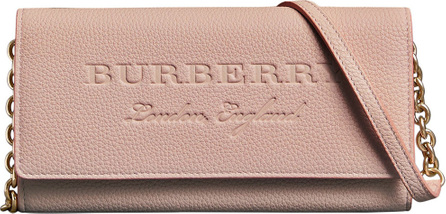 Burberry London England Embossed Leather Wallet with Chain