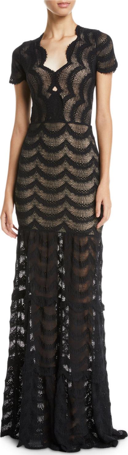 Nightcap Clothing Fiesta Fan Lace Cap-Sleeve Gown