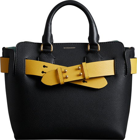 Burberry London England Small Contrast Belt Leather Tote
