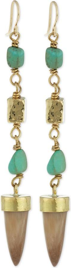 Ashley Pittman Uti Light Horn & Turquoise Drop Earrings