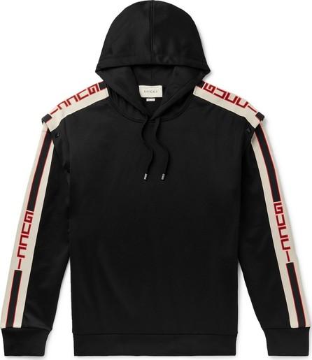 Gucci Webbing-Trimmed Tech-Jersey Hoodie