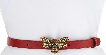 Gucci Queen Margaret Leather Belt w/ Embellished Bee Buckle