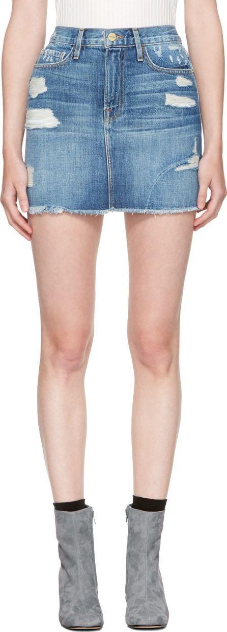 FRAME DENIM Blue Denim 'Le Mini' Miniskirt