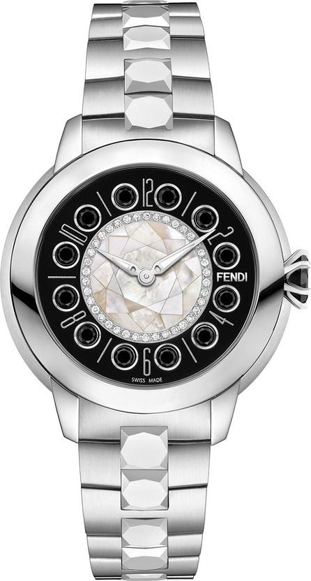 Fendi 33mm IShine Stainless Steel Bracelet Watch w/ Diamonds