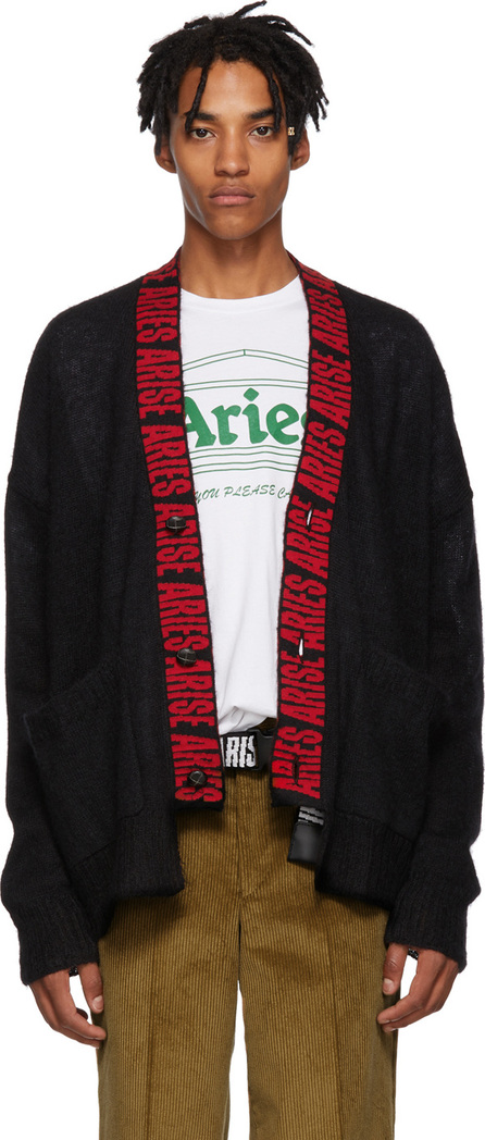 Aries Black Logo Mohair Cardigan