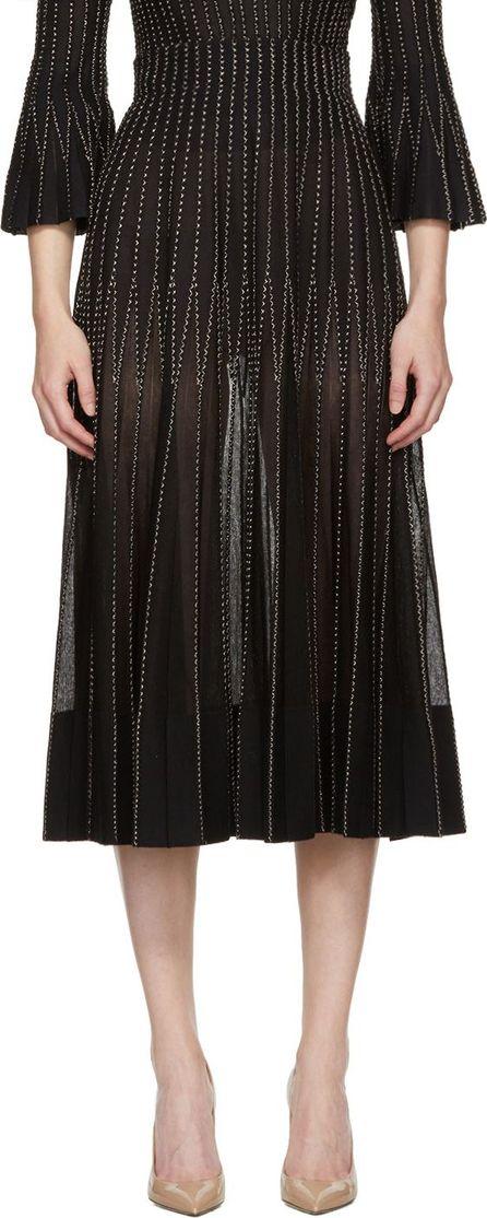 Alexander McQueen Black & Gold Flared Ribbed Skirt