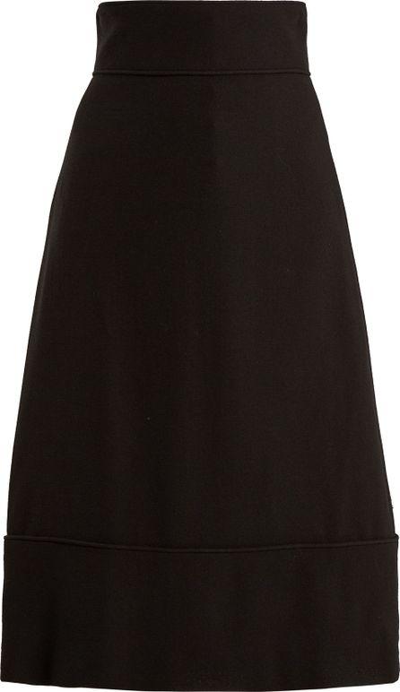 Goat A-line wool-crepe midi skirt