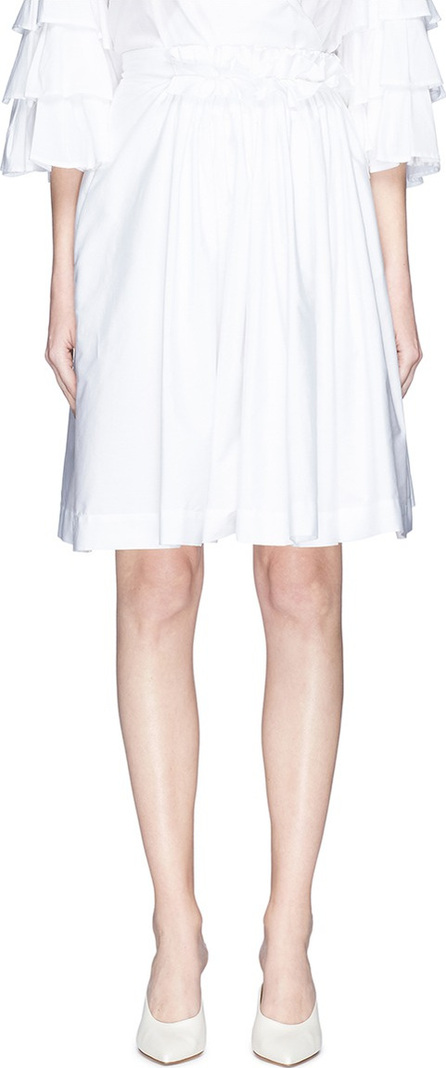 Lanvin Ruffle waist ruched poplin skirt