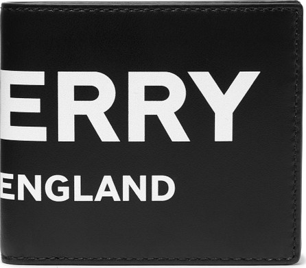 Burberry London England Logo-Print Leather Billfold Wallet