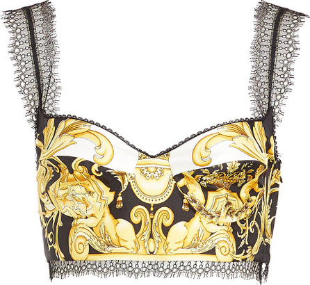 Versace Printed Silk Top with Lace