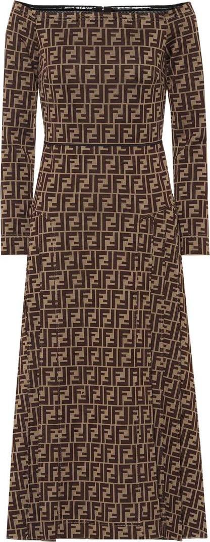 Fendi Off-the-shoulder mohair-blend dress