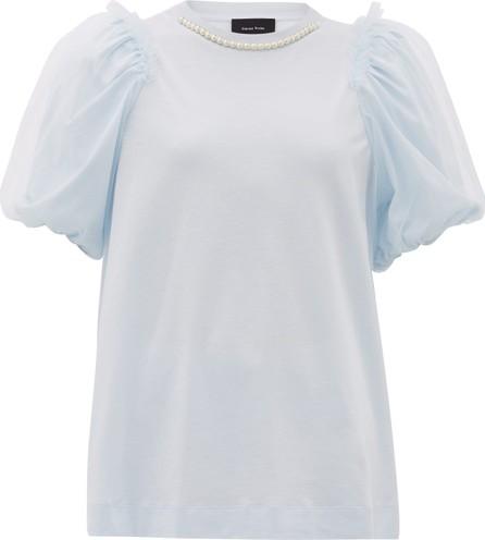Simone Rocha Faux-pearl puff-sleeved cotton T-shirt