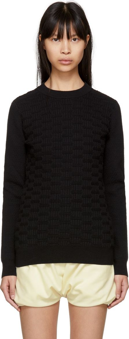 Carven Black Textured Knit Sweater
