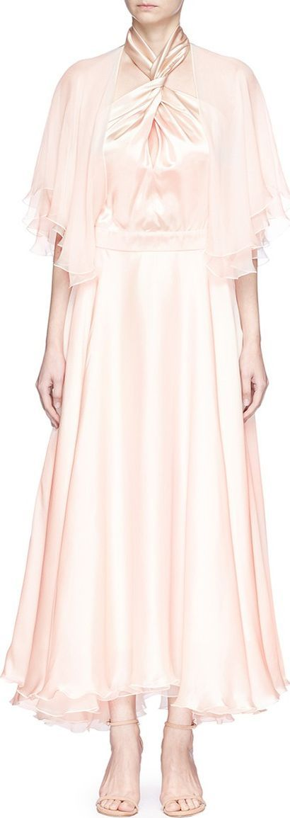 Lanvin Twist halterneck chiffon sleeve silk satin dress