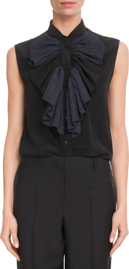 Givenchy Sleeveless Crepe Blouse w/ Contrast Ruffle