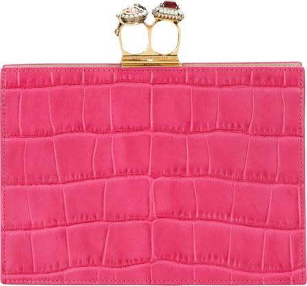 Alexander McQueen Jeweled Double Ring Crocodile-Embossed Clutch Bag - Golden Hardware