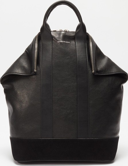 Alexander McQueen 'De Manta' suede panel leather backpack tote