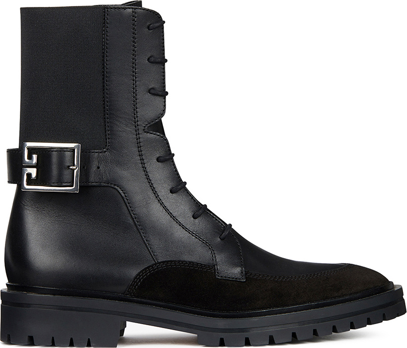 Givenchy Leather & Suede Aviator Lace Up Ankle Boots in . JhXSEN