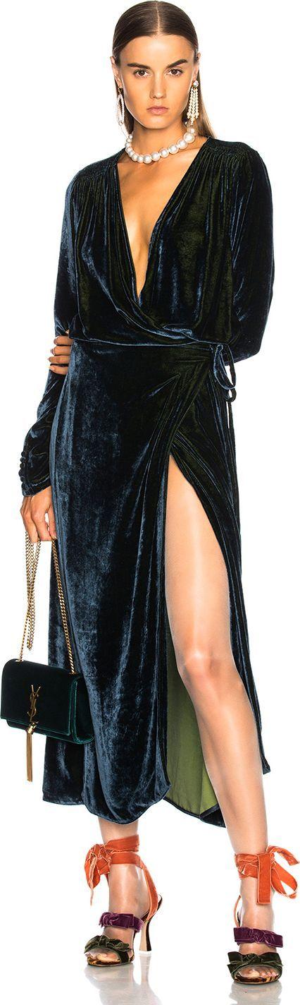 Attico Victoria 3 Velvet Robe Dress