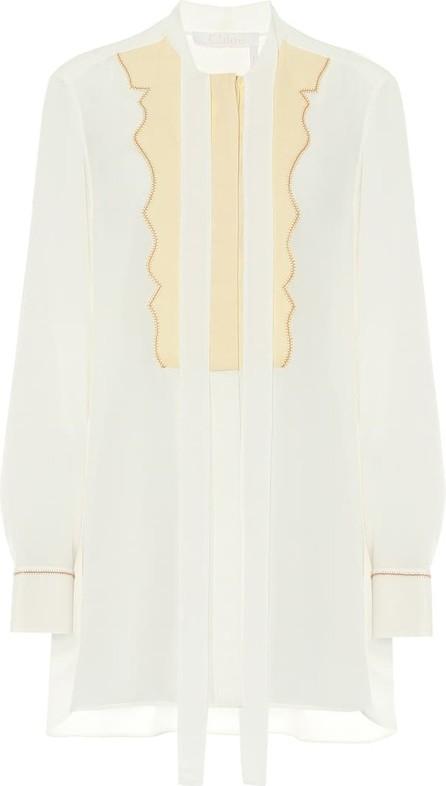 Chloe Tie-neck silk-crêpe blouse