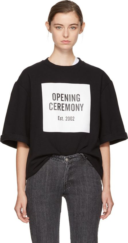Opening Ceremony Black Short Sleeve Logo Sweatshirt
