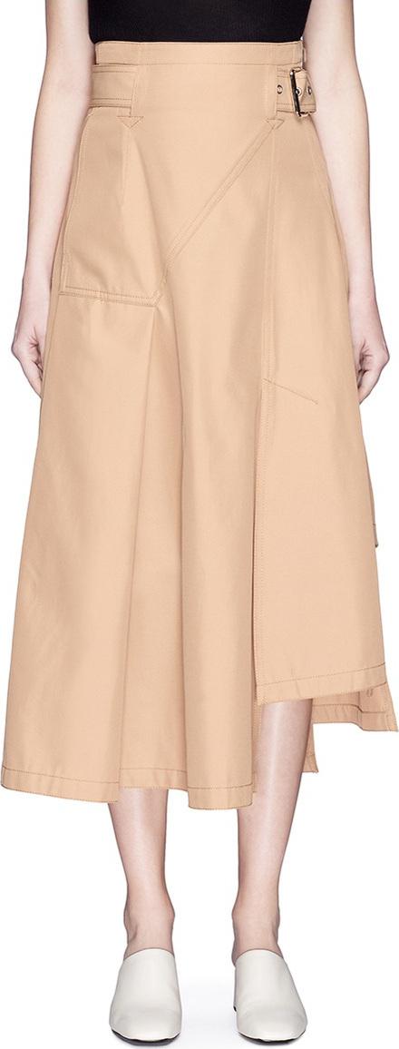 3.1 Phillip Lim Belted panel midi twill skirt