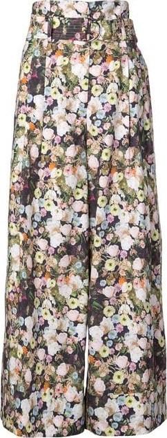 Adam Lippes Poplin Tie Floral Wide Leg Pants