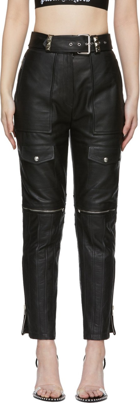 Alexander Wang Black Leather Moto Trousers