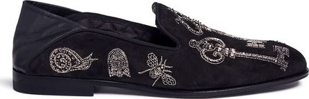 Alexander McQueen 'Magic Key' beaded embroidery suede babouche slides