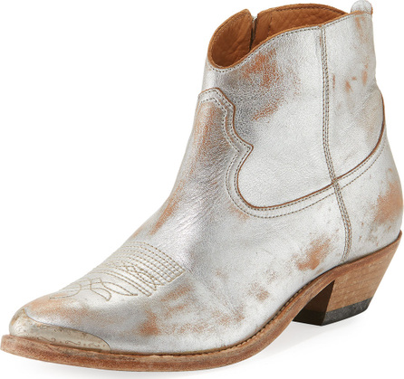 Golden Goose Deluxe Brand Young Metallic Leather Western Ankle Boot