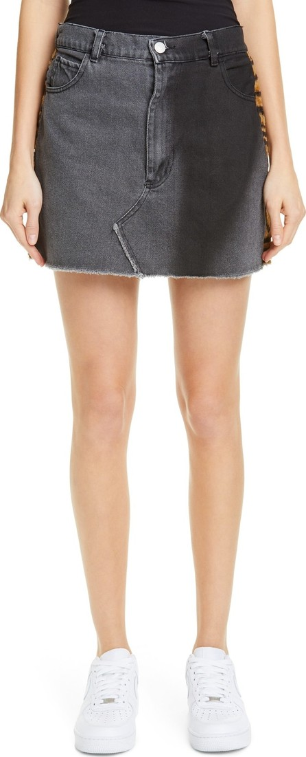 Ashley Williams Stephanie Denim & Faux Fur Miniskirt