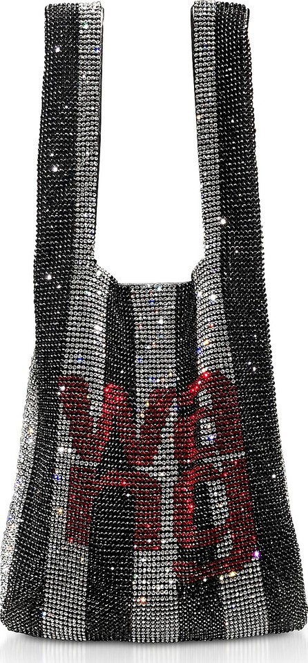 Alexander Wang Black/Crystal Striped Rhinestone Wanglock Mini Shopper