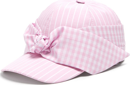 Federica Moretti Lu striped bow-embellished cap