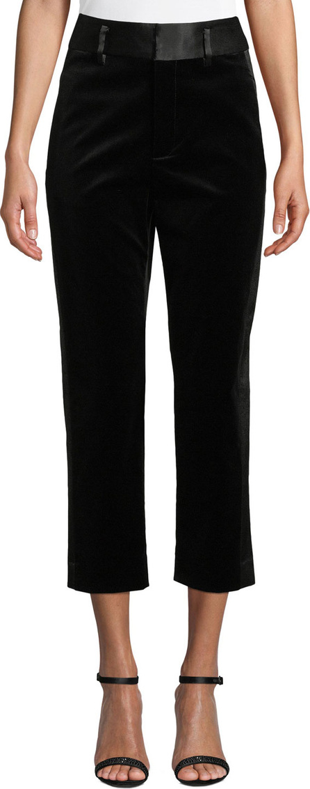 FRAME DENIM Velvet Tux Cropped Straight-Leg Pants