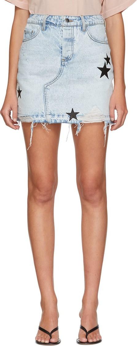 Amiri Indigo Denim Star Skirt