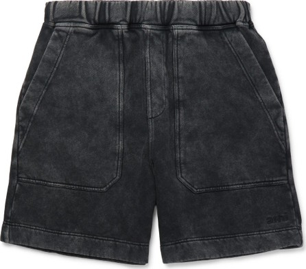 AMI Logo-Embroidered Acid-Wash Cotton-Jersey Shorts